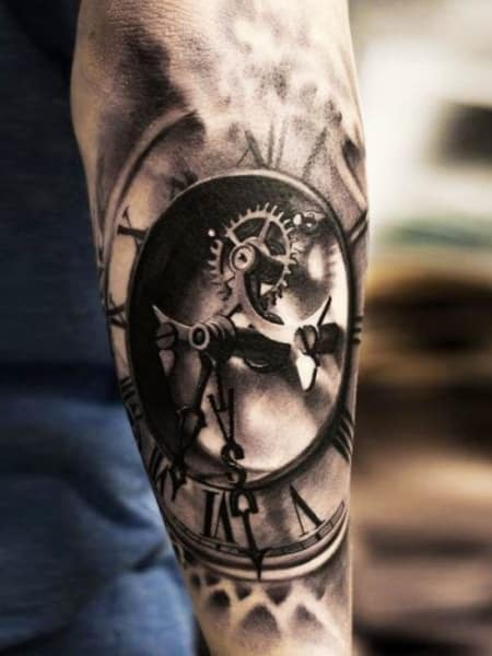 3d Clock Tattoo