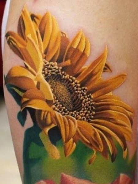 3d Sunflower Tattoo