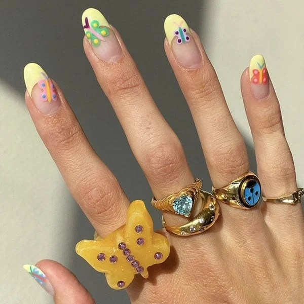 Butterflies With Lime French Manicure Pretty Nails Laurenladnier