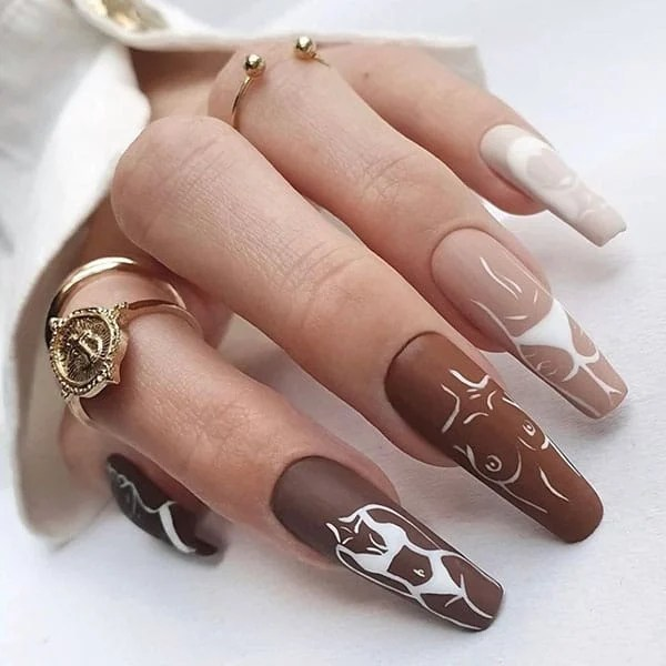 Femme Line Drawing Nail Ideas The Hot Blend