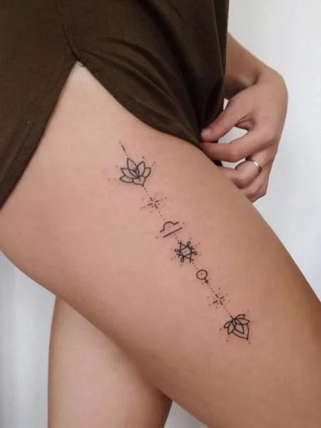 Thigh Stick And Poke Tattoo