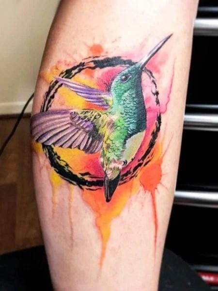 Hummingbird And Circle Tattoo