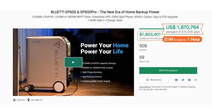 bluetti ep500 kickstarter
