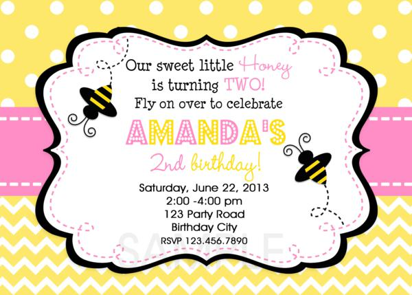chevron polka dot bumble bee birthday party invitation