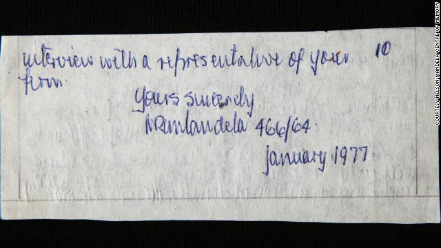 The last page of a letter smuggled from Mandela's prison cell on Robben Island in 1977, containing his signature and prisoner number, 46664.