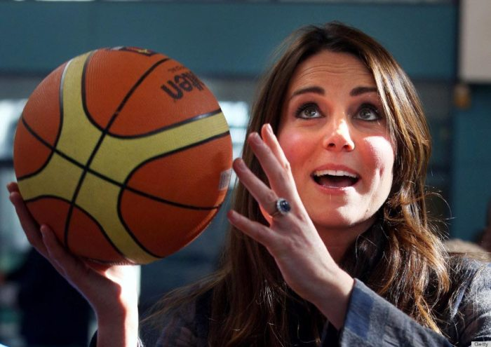 Kate Middleton plays basketball at the Donald Dewer Leisure Centre on April 4, 2013.
