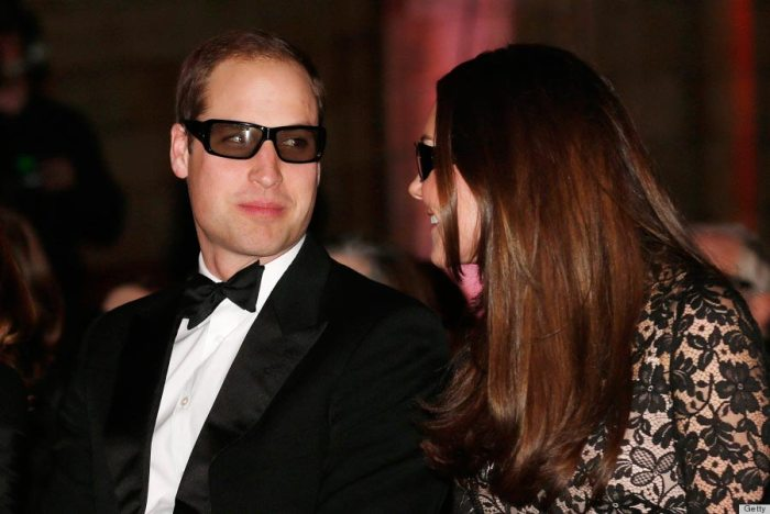 Prince William and Kate Middleton wear 3D glasses at a screening of David Attenborough's Natural History Museum Alive 3D on December 11, 2013.