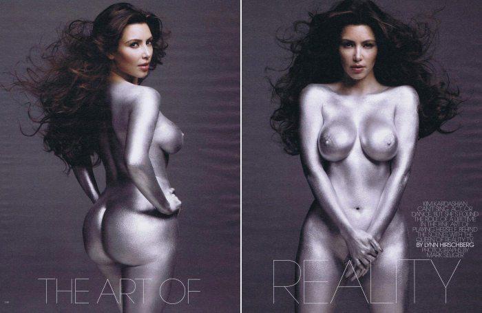 Kim Kardashian Covered in Sliver The Trent