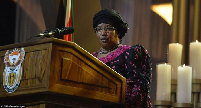 Speech: Joyce Banda, the president of Malawi, was one of many African leaders to pay tribute to Mandela at the service