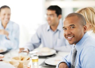 person eating work party breakfast businessman lunch
