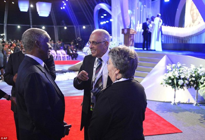 Dignitaries: Anti-apartheid activist and friend Ahmed Kathrada, right, with former South Africa president Thabo Mbeki