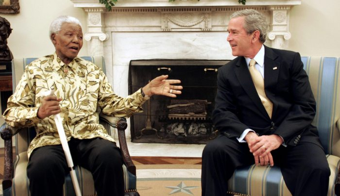 Nelson Mandela and George  Bush The Trent