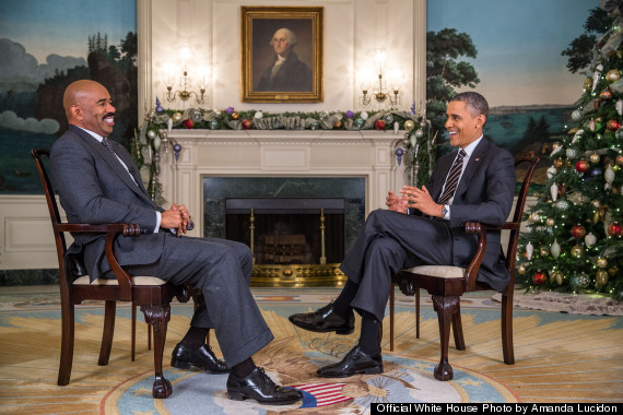 Official White House Photo of Steve Harvey and President Barack Obama, Still shot from Interview for The Steve Harvey Show billed to show on December 20, 2013