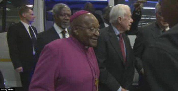 Respected: Former UN Secretary General Kofi Annan arrived with Archbishop Desmond Tutu and former President Jimmy Carter