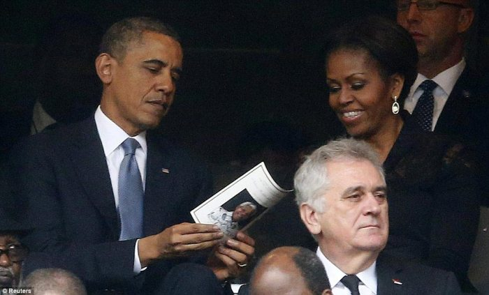 Prominent role: U.S. President Barack Obama, who will deliver a eulogy at the service, is joined by First Lady Michelle (right)