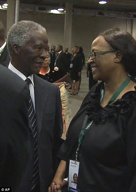 Successor: Former South African President Thabo Mbeki (left) is welcomed as he arrives at the FNB Stadium