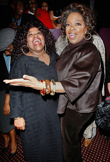 January 2008: Winfrey at The Color Purple curtain call with singer Chaka Kahn in New York City. (Photo Credit: Jemal Countess/WireImage.com)