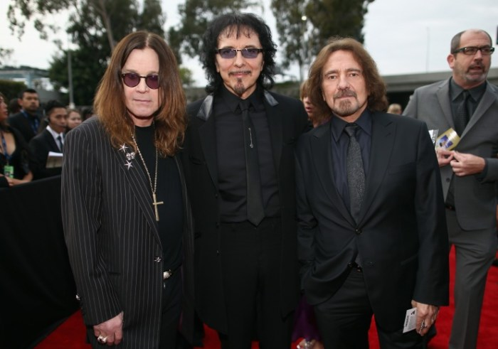 Ozzy Osbourne, Tony Iommi and Geezer Butler of Black Sabbath arrive at the 56th Annual GRAMMY Awards on Jan. 26 in Los Angeles (Photo Credit: Christopher Polk/Getty Images)