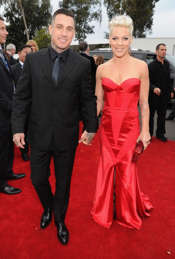 Carey Hart and nominee Pink arrive at the 56th Annual GRAMMY Awards on Jan. 26 in Los Angeles (Photo Credit: Kevin Mazur/WireImage.com)