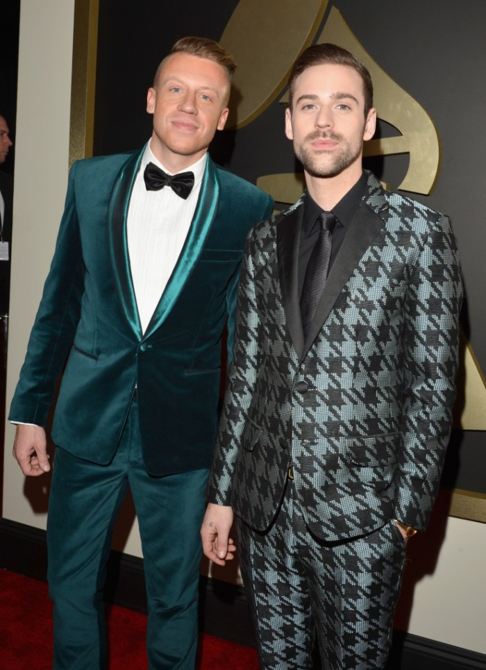 Macklemore and Ryan Lewis arrive at the 56th Annual GRAMMY Awards on Jan. 26 in Los Angeles (Photo Credit: Lester Cohen/WireImage.com)