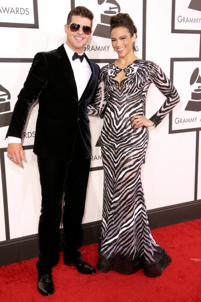 Nominee Robin Thicke and Paula Patton at the 56th Annual GRAMMY Awards on Jan. 26 in Los Angeles (Photo Credit: Steve Granitz/WireImage.com)