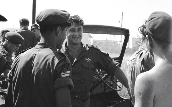 A 1957 picture taken fromThe Forgotten Photographs: The Work of Paul Goldman from 1943-1961 by Spencer M. Partrich shows Lt. Colonel Ariel Sharon, commander of the paratrooper's brigade,speaking with soldiers. On his left is his deputy, Major Rafael Eytan (Picture: Art Israel, LLC. (Paul Goldman/KRT) )