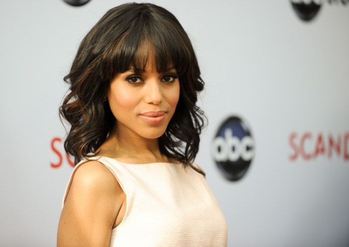 """Kerry Washington arrives at the Academy of Television Art and Sciences' event with the cast and producers of """"Scandal"""". (Photo Credit: Richard Shotwell/Invision/AP)"""