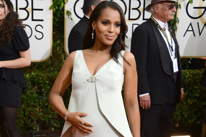 Kerry Washington arrives at the 71st annual Golden Globe Awards at the Beverly Hilton Hotel on Sunday, Jan. 12, 2014, in Beverly Hills, Calif. (Photo by Jordan Strauss/Invision/AP)