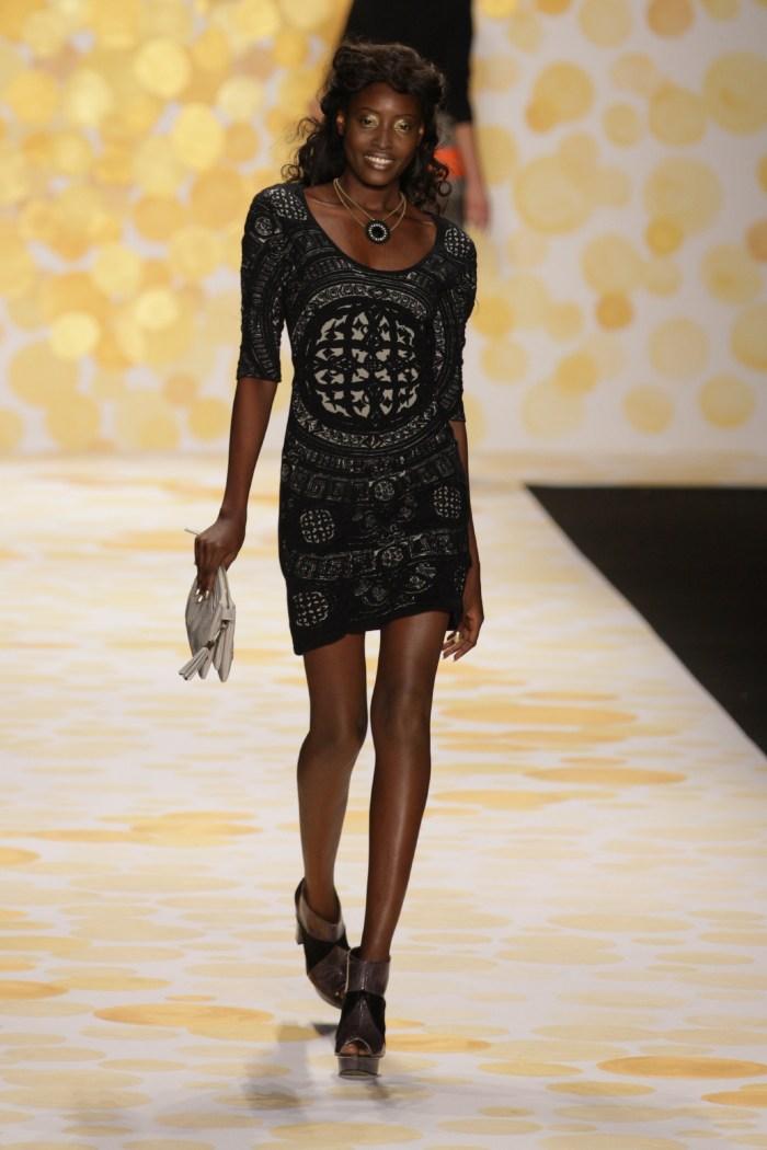 Bunmi Ademokoya in Desigual at the Mercedes-Benz New York Fashion Week, Lincoln Centre, New York, New York, USA (Photo Credit : Eric Marillier / SDR Photo)