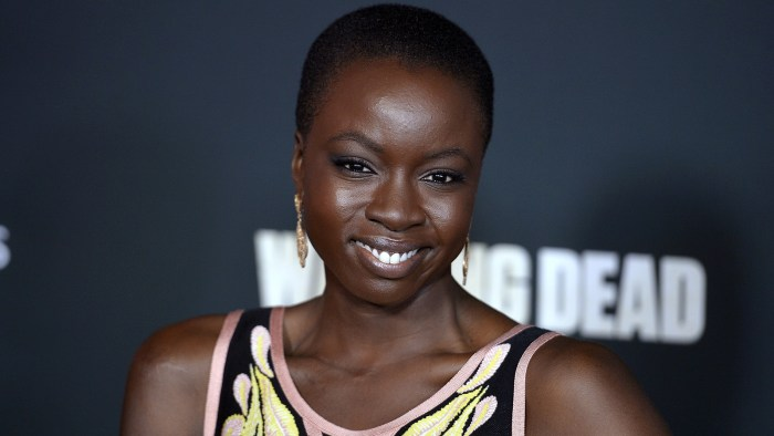 "Danai Gurira arrives at the premiere of AMC's ""The Walking Dead"" 4th season at Universal CityWalk on October 3, 2013 in Universal City, California."