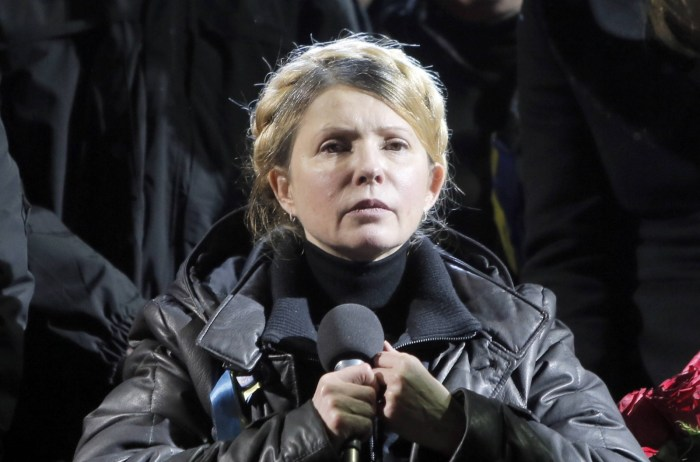 Ukraine's opposition leader and former prime minister addresses her jubilant supporters following her release from prison Saturday, February 22, 2014 (Photo Credit: Reuters)