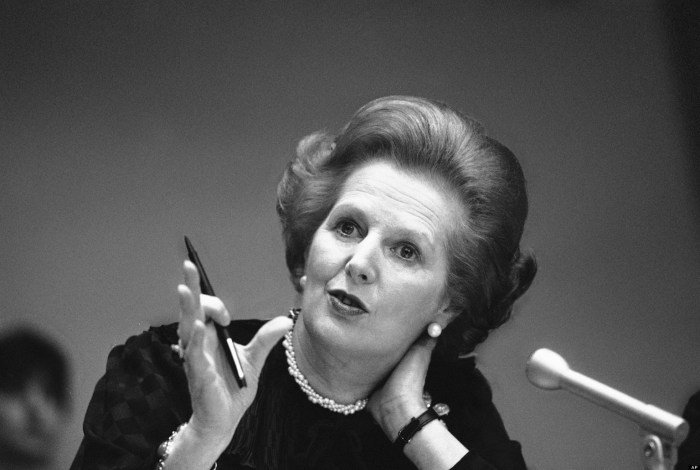 "In this June 23, 1982 file photo, Britain's Prime Minister Margaret Thatcher gestures with her pen as she answers a reporters question during a news conference at the United Nations. Ex-spokesman Tim Bell says that Thatcher has died. She was 87. Bell said the woman known to friends and foes as ""the Iron Lady"" passed away Monday morning, April 8, 2013. (Photo Credit:AP/File)"