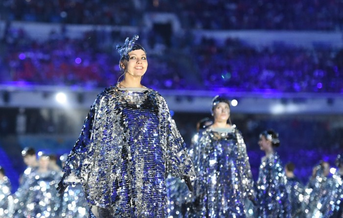 Artists perform during the Closing Ceremony of the Sochi Winter Olympics at the Fisht Olympic Stadium on February 23, 2014. AFP PHOTO / DAMIEN MEYER (Photo credit should read DAMIEN MEYER/AFP/Getty Images)