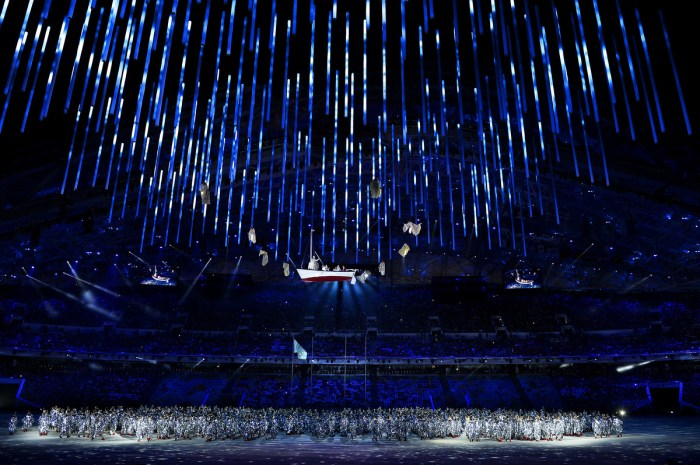 SOCHI, RUSSIA - FEBRUARY 23: Dancers perform during the 2014 Sochi Winter Olympics Closing Ceremony at Fisht Olympic Stadium on February 23, 2014 in Sochi, Russia. (Photo by Pascal Le Segretain/Getty Images)