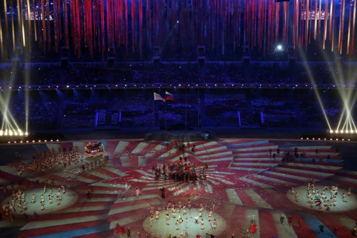 SOCHI, RUSSIA - FEBRUARY 23: The magic of circus is performed during the 2014 Sochi Winter Olympics Closing Ceremony at Fisht Olympic Stadium on February 23, 2014 in Sochi, Russia. (Photo by Matthew Stockman/Getty Images)
