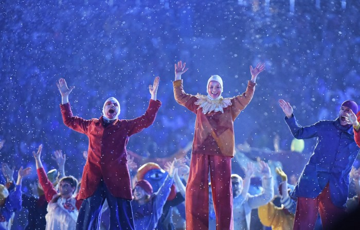 Performers take part in the Closing Ceremony of the Sochi Winter Olympics at the Fisht Olympic Stadium on February 23, 2014. AFP PHOTO / DAMIEN MEYER (Photo credit should read DAMIEN MEYER/AFP/Getty Images)