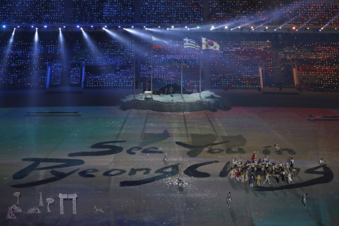 Dancers perform at the Closing Ceremony of the Sochi Winter Olympics at the Fisht Olympic Stadium on February 23, 2014. The 2018 Winter Olympic games are scheduled to take place in Pyeongchang, South Korea. AFP PHOTO / ADRIAN DENNIS (Photo credit should read ADRIAN DENNIS/AFP/Getty Images)