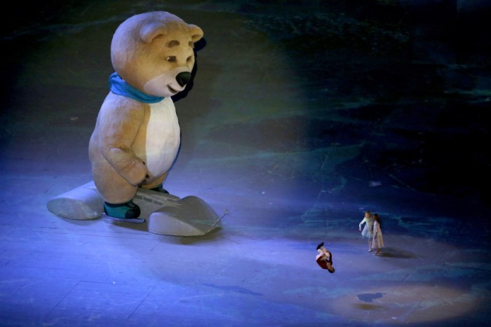 The polar bear mascot is seen during the Closing Ceremony of the Sochi Winter Olympics at the Fisht Olympic Stadium on February 23, 2014. The 2018 Winter Olympic games are scheduled to take place in Pyeongchang, South Korea. AFP PHOTO / ADRIAN DENNIS (Photo credit should read ADRIAN DENNIS/AFP/Getty Images)
