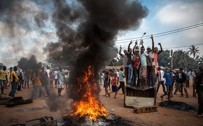 2nd Prize General News StoriesWilliam Daniels, France, Panos Pictures for Time17 November 2013, Central African RepublicDemonstrators gather on a street in Bangui to call for the resignation of interim President Michel Djotodia following the murder of Judge Modeste Martineau Bria by members of Seleka. Bangui, Central African Republic.Picture: WILLIAM DANIELS/PANOS PICTURES FOR TIME