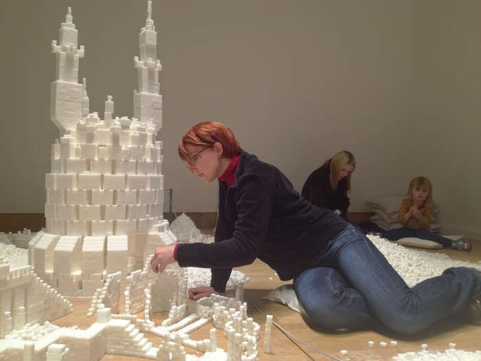 A visitor from France constructing part of the Northern Ireland version of Sugar Metropolis in November 2013 (Photo Credit: Project On Kickstarter)