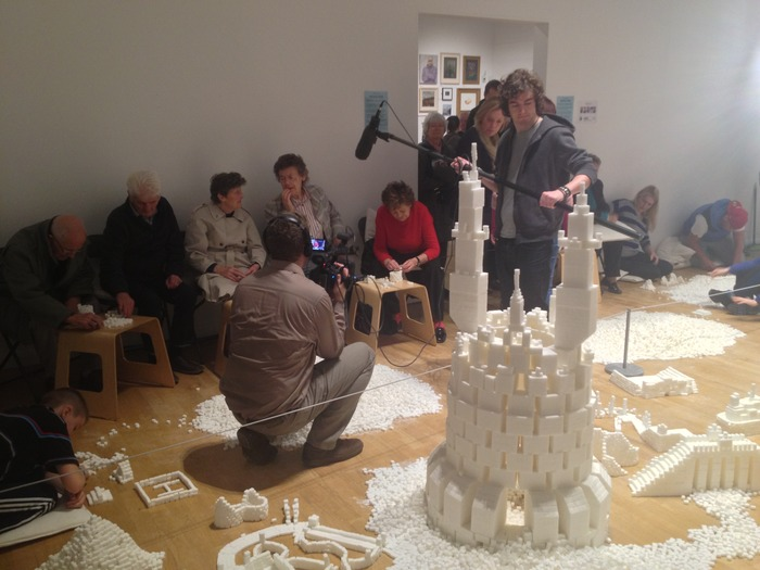 Intergenerational group building sculptures in the Northern Ireland version of Sugar Metropolis, November 2013 (Photo Credit: Project On Kickstarter)
