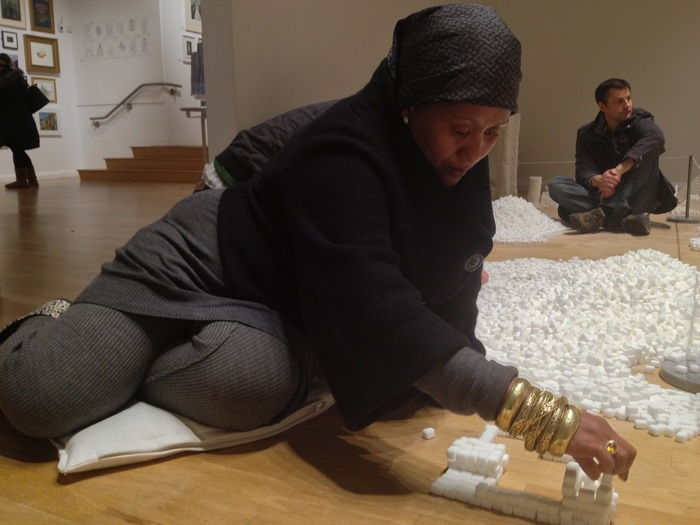 Exhibition visitor participating in the Northern Ireland version of Sugar Metropolis (Photo Credit: Project On Kickstarter)
