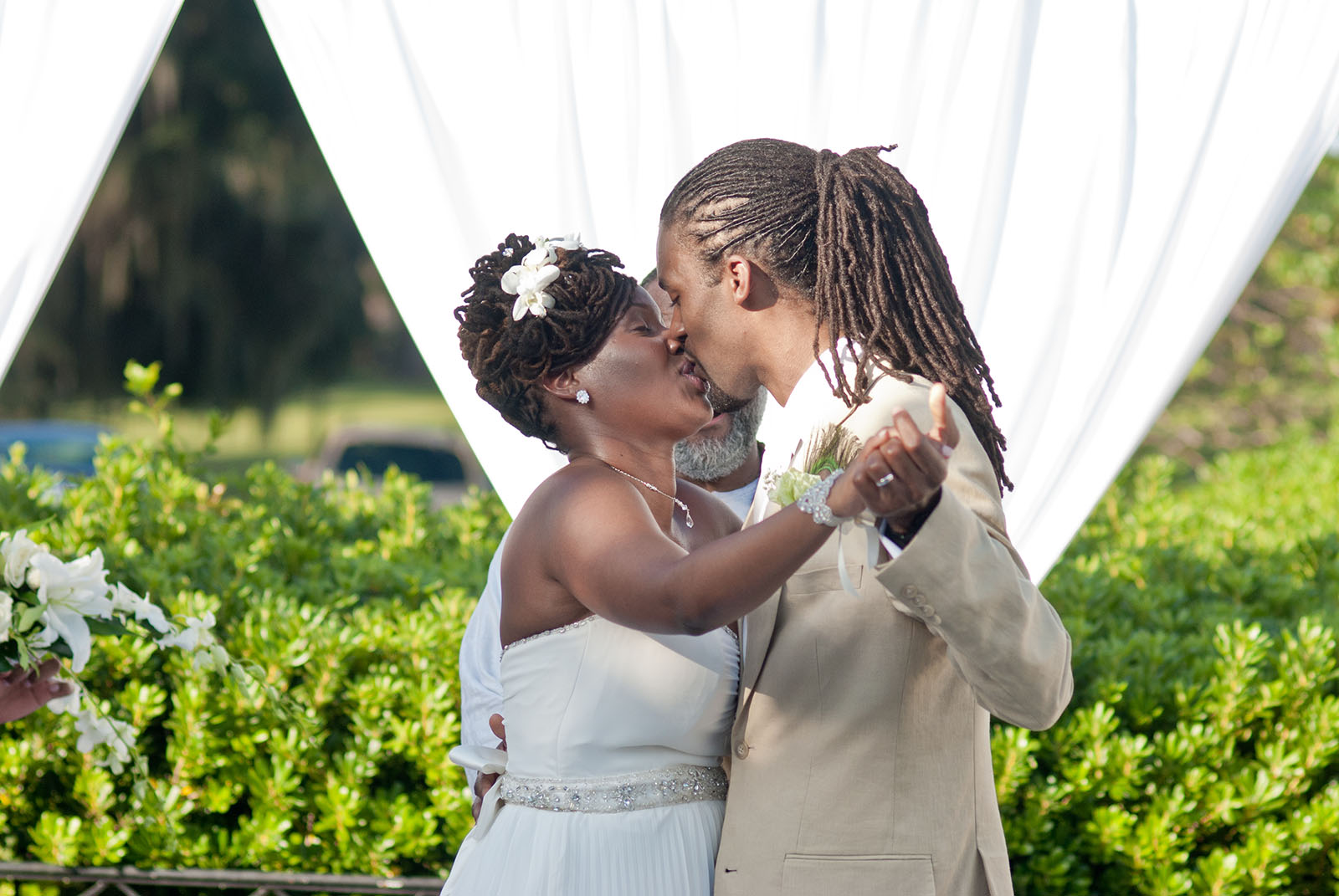 African American Wedding Couple The Trent Kiss The Trent