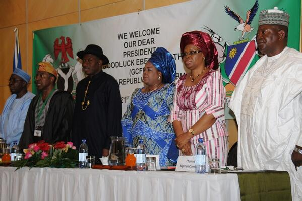 President Jonathan & Dame Jonathan at a meeting with Nigerian community in Namibia. Photo: Reuben Abati