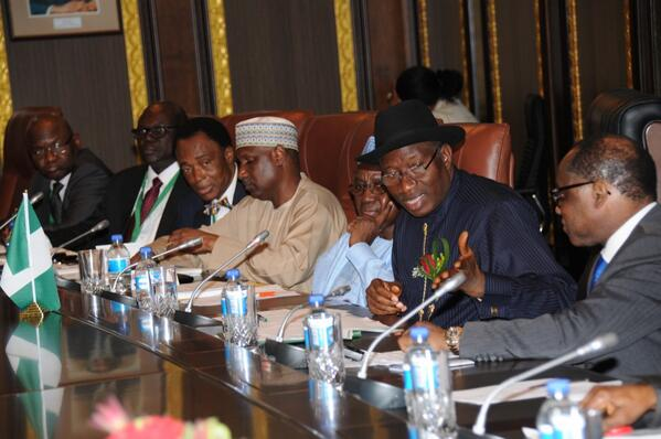 President Jonathan addressing issues during the bilateral meeting with Namibia