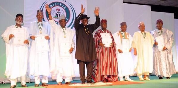 President Goodluck Jonathan with every living former Head of State/President in Nigeria at the Centenary Awards.
