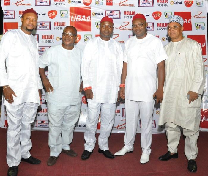Cupid Concert 2014: (L-R)Engr Emeka Nwaobi, Chief Paul Uzor, HRM Ayo Isinyemeze, the Obi of Ugbodu; HRM Obi Mohanyem 1; the Obi of Ezi; Dr Mandy at the concert which held at Lamibele Place, Asaba