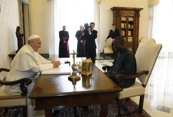 President Jonathan with Pope Francis at the Vatican | Photo: Reuben Abati