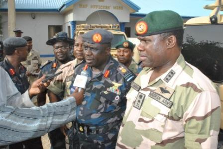 THE CHIEF OF ARMY STAFF LT GEN KENNETH MINIMA (R)  WITH THE CHIEF OF AIR STAFF AIR MARSHAL ADESOLA AMOSU FIELDING QUESTIONS FROM MEMBERS OF THE PRESS IN MAIDUGURI BORNO STATE