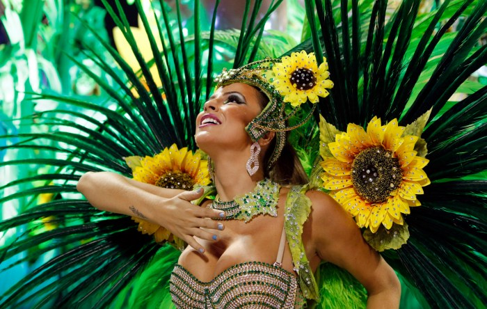 A reveler from the Vila Isabel samba school participates in the annual Carnival parade in Rio de Janeiro's Sambadrome, on February 12, 2013. (Photo Credit: Reuters/Sergio Moraes)